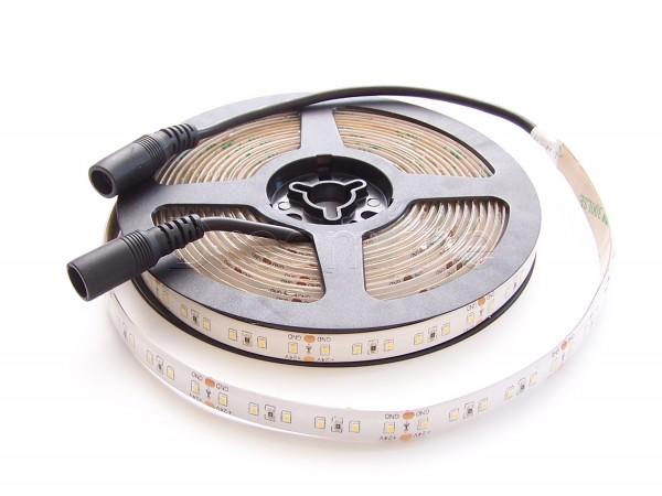 24V LED Stripe 2216 500cm Warmweiß IP65 mit beidseitigen DC Steckern, High Cri & 600 LEDs