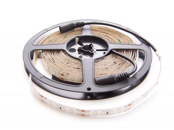 24V LED Stripe 2835 500cm Kaltweiß IP65 mit beidseitigen DC Steckern & 600 LEDs