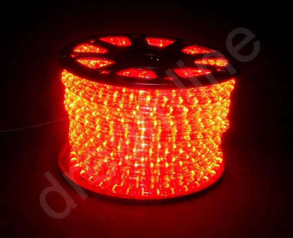 LED Lichtschlauch Rot - 50m Rolle - horizontale LEDs