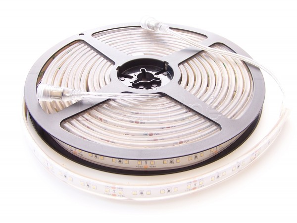24V LED Stripe 2216 500cm Warmweiß IP68 mit beidseitigen DC Steckern, High Cri & 600 LEDs