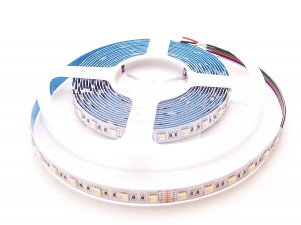 RGB-W-WW LED Stripes in 24V mit 300 LEDs auf 5m Rolle in IP20 Ausführung für Innen 5in1