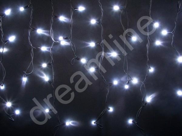 LED Giebelvorhang Kaltweiß mit schwarzem Kabel und 49 LEDs