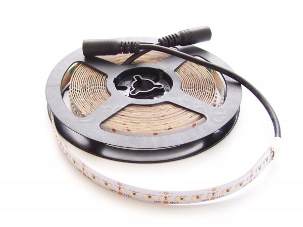 24V LED Stripe 2216 500cm Warmweiß IP20 mit beidseitigen DC Steckern, 1200 LEDs, High Cri & dichter Bestückung