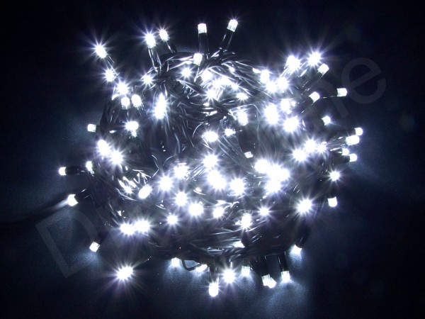 LED Lichterkette Kaltweiß mit 20m und 200 LEDs und schwarzem Kabel