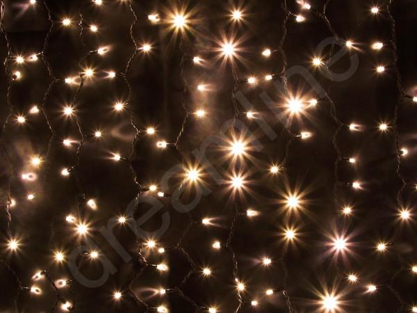 LED Lichtervorhang Warmweiß mit schwarzem Kabel, 100cm Breite, 150cm Höhe und 150 warmweißen LEDs