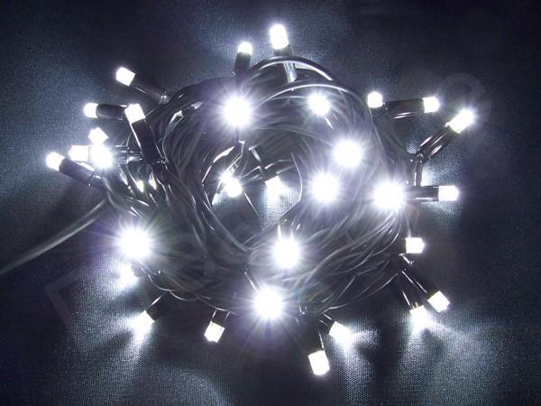 LED Lichterkette Kaltweiß mit 8m und 80 LEDs und schwarzem Kabel