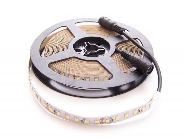 24V LED Stripe 2835 500cm Neutralweiß IP20 mit beidseitigen DC Steckern und 600 LEDs